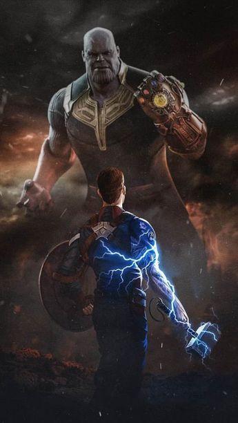 Captain America With Mjolnir vs Thanos iPhone Wallpaper Free – GetintoPik