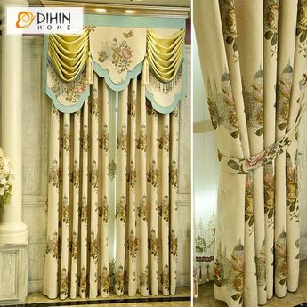 DIHIN HOME House and Flowers Printed,Blackout Curtains Grommet Window Curtain for Living Room ,52x84-inch,1 Panel