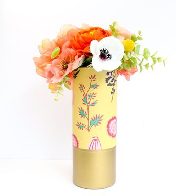 Mustard Floral Pattern Wrapped Glass Flower Vase with Matte Gold Bottom