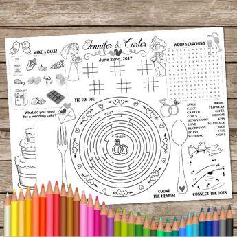 Printable Wedding Table Mat, Kids Activity Placemat, Wedding Coloring, Activity Page, Printable Party Game, Wedding Placemat