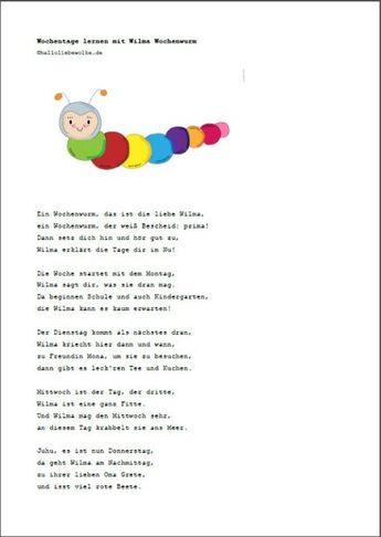 Wochentage Lernen Mit Wilma Wochenwurm Lerngeschichte P