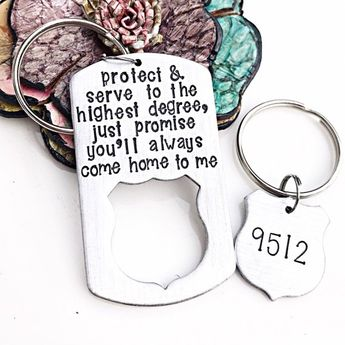 Police Officer Gifts, Police Graduation Gift, Police Wife, Police Badge, Police Keychain, Thin Blue