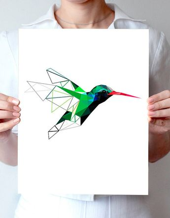 Humminbird, bird art, geometric poster, minimalist art, green art,modern design, bird poster, nature,art print, nursery print,turquoise blue