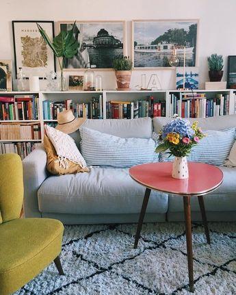 Bookshelf behind couch. Member Ann.Meer in Berlin has it so beautiful ❤ #repost # living room