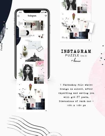 """Instagram PUZZLE template-FunkyStyle by CreativeFolks on @creativemarket 