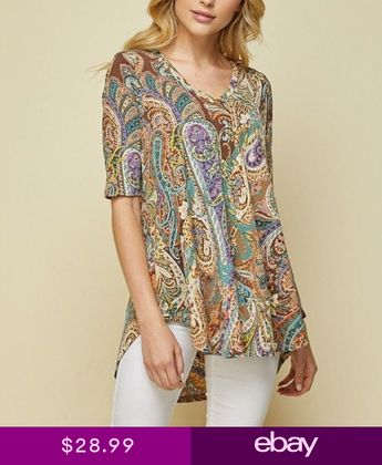 fe07a0a98fdcb BROWN TAUPE PURPLE PAISLEY BULGARI HONEYME TUNIC TOP SIZE S M L 2XL 3XL