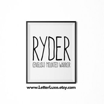 Ryder Printable Kids Gift - Name Meaning Art - Baby Shower Gift - Nursery Art - Digital Print - Nursery Decor - Typography Wall Decor