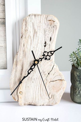 Create your own rustic, one of a kind driftwood clock. We'll show you how to make a clock using a piece of found driftwood. #driftwood #hottomakeaclock #daylightsavingstime #naturalcrafts, #handmadeproducts, #diynatural, #naturecrafts