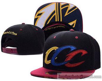 b2e2af98d8914 NBA Cleveland Cavaliers Snapback Hats Black Triple Color Stack