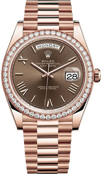 Rolex Day-Date 40 Everose Gold Diamond Bezel Roman Chocolate President Watch 228345RBR
