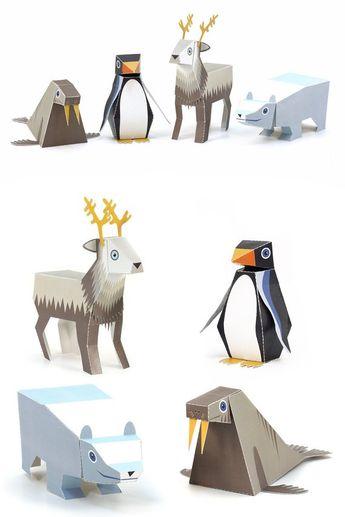 Ice Animals Paper Toys - DIY Paper Craft Kit - 3D Paper Animals - 4 Ice Animals - Papercraft Kids