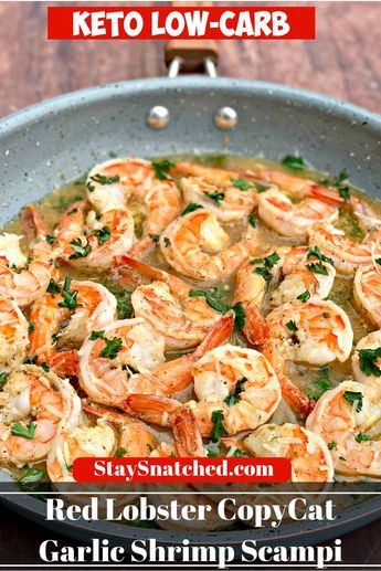 Easy Keto Low-Carb Red Lobster Copycat Garlic Shrimp Scampi is a quick and easy recipe that provides step by step instructions on how to make restaurant quality garlic butter sauce with succulent shrimp, white wine, and parmesan cheese. You can even make the dish without white wine if you prefer. #KetoRecipes #RedLobsterShrimpScampi