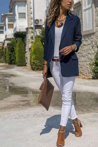Candy Color Pockets Lapel Slim Women Blazer