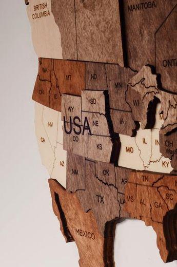 3D Wood Art World Map Poster Multilayered