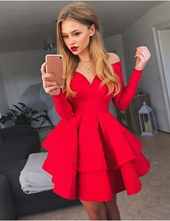 Women's Party Daily Basic A Line Swing Dress High Waist Off Shoulder Cotton White Black Red M L XL