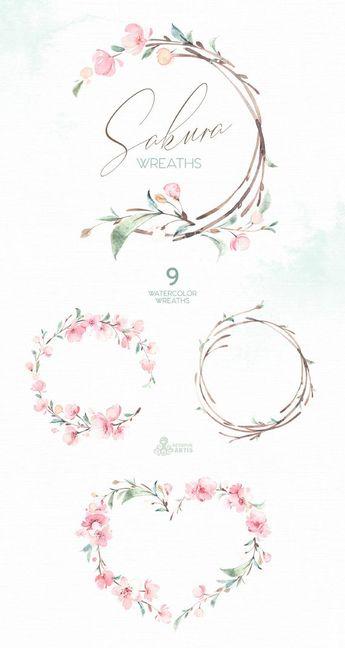 Sakura Wreaths. Watercolor Floral clipart, cherry blossom, fresh, pink, flowers, spring, wedding, bridal, branch, delicate, gentle, garden