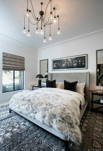 Modern bedroom with drop lighting chandelier