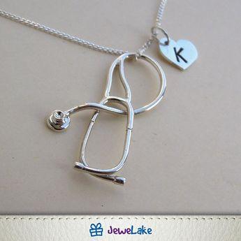 RN Registered Nurse Medical Stethoscope Gold Handstamped Personalized Initial Letter Graduation Gift Brooch Nurse Pin