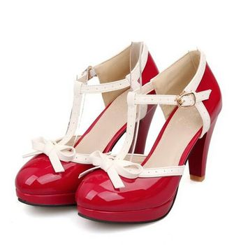 Vintage Women's T Strap High Heels Bow Tie Stylish Lolita Shoes Pumps