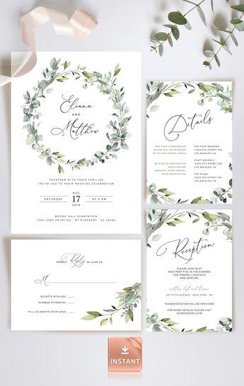 8e474eefc721e Rustic Botanical Wedding Invitation, Greenery