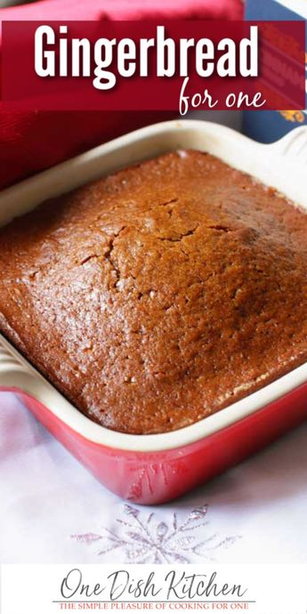 This wonderful gingerbread recipe is perfect for the holidays or any time of the year! A small batch of sweet, perfectly spiced old fashioned gingerbread. This gingerbread for one is easy to make and is the perfect amount for one or two people. | One Dish Kitchen | #gingerbread #miniloaf #smallbatch #christmas #holidays #dessert #cookingforone #recipeforone #onedishkitchen