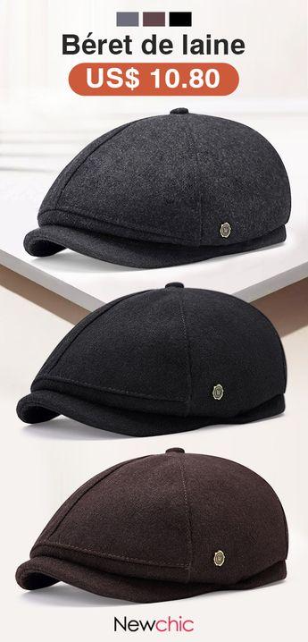 Chapeau de béret de laine chaud pour hommes hiver épaissir outdoor chapeau octogonal solide avant décontracté