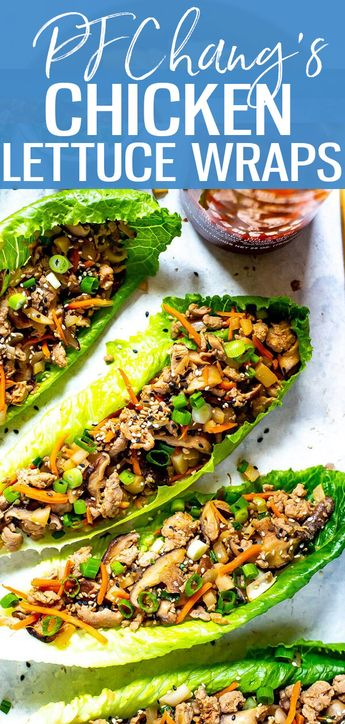 These PF Chang's Chicken Lettuce Wraps are a super easy copycat of the restaurant version - and they are also a healthy, low carb dinner idea made with ground chicken, mushrooms and water chestnuts! -The Girl on Bloor #PFChangs #LettuceWraps #lowcarb