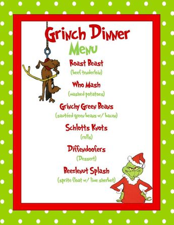 Grinch Dinner Menu Sample; made in Microsoft Publisher