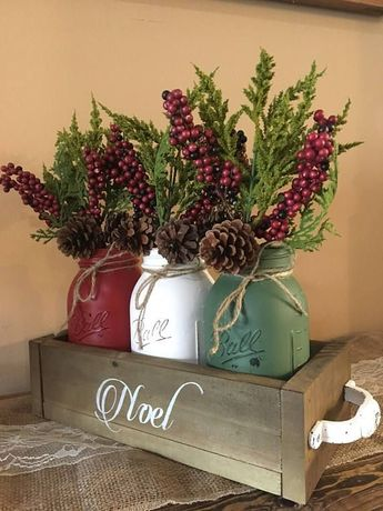 Mason Jar Christmas centerpiece, mason jar christmas, noel, mason jar christmas decor, christmas table decor, holiday decor, mason jar table