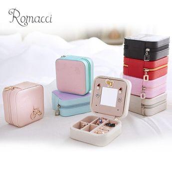 Romacci Mini PU Jewelry Box Travel Zippered Case Organizer With Mirror