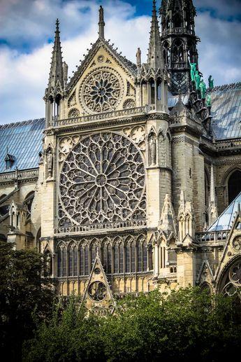 Notre Dame's famous rose window on the south side, Paris