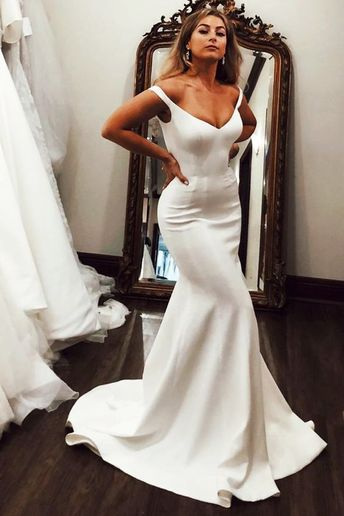 V-Neck Off the Shoulder Mermaid Long Ivory Wedding Dress by prom dresses, $158.24 USD