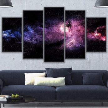 Starry Sky Nebula Outer Space Framed 5 Piece Canvas Five Panel Canvas Art Wall Art Home Decor For He