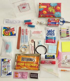 Emergency survival kit for mommies by the wonderful Amy Powers. *This would also be a great gift for teachers to have in their classrooms and/or to have on field trips!