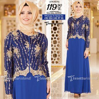 eafad2c4446c8 Nayla Collection - Dantel Detaylı Sax Mavisi Tesettür Abiye Elbise 52549SX # tesettur #tesetturabiye #
