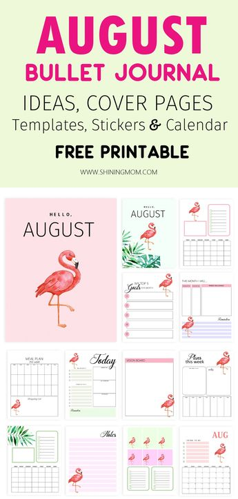 August Bullet Journal and Planner FREE Printable