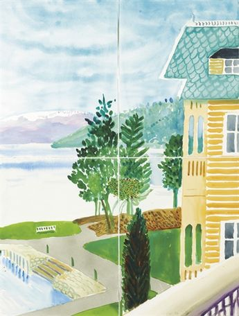 David Hockney, Kviknes Hotel, Balestrand (in four parts), Watercolor on paper.