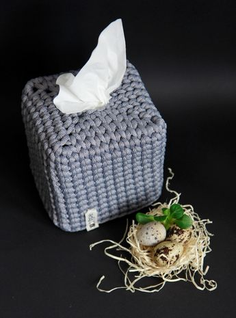 Square grey tissue box cover Crochet Scandinavian style Kleenex box holder Entryway decor Unique stylish tissue box holder