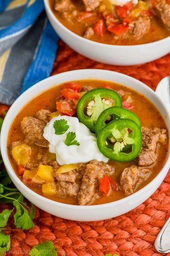 This Steak Fajita Soup Recipe is going to be your favorite new comfort food! This soup recipe starts with my fajita seasoning recipe and is like a delicious steak fajita as a warm bowl of comforting soup that you will want to make all winter long!