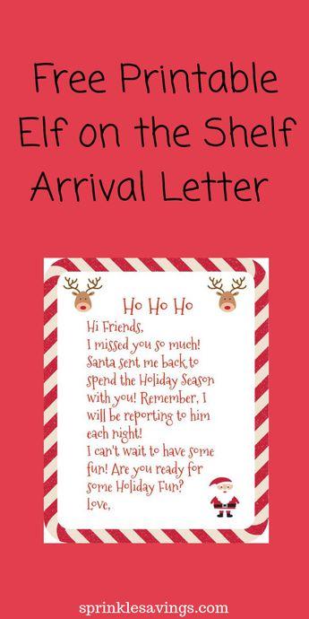 free printable elf on the shelf arrival letter christmas holidays elfontheshelf
