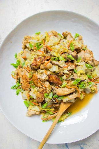 Paleo Chicken Stir-Fry with Cabbage and Shiitake