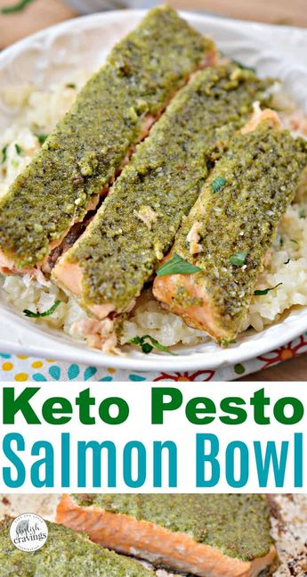 Keto Pesto Salmon Bowl - Easy low carb lunch or dinner! Perfect for meal planning too!   #ketorecipes #salmon #pestosalmon #keto #salmonrecipes #pestosauce #ketolunch #ketodiet #ketorecipes