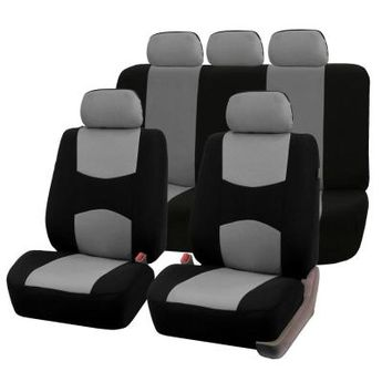 FH Group Flat Cloth 47 in. x 23 in. x 1 in. Multi-functional Full Set Seat Covers, Gray
