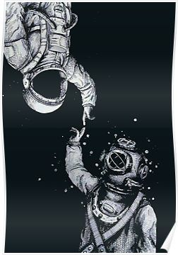 'Astronaut and Diver - Last Frontiers ' Poster by dru1138