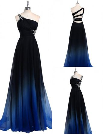 A-Line One-Shoulder Sweep Train Navy Blue Chiffon Prom Dress with Beading