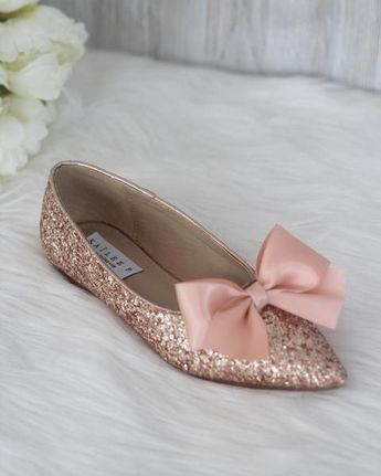 a11162df8cff Women Pointy Toe Rock Glitter Flats with Satin Bow – Kailee P. Inc.