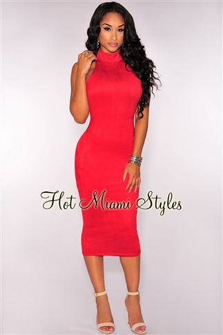 5ef5d2e2503 Red Faux Suede Mock Neck Midi Dress
