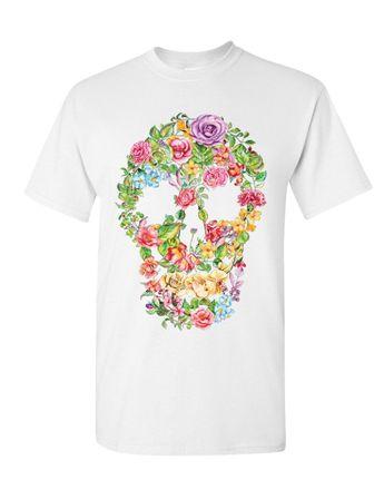 3c7999ac2 Flower Skull T-Shirt Sugar Skull Calavera Dia de los Muertos Mens Tee Shirt