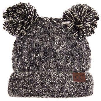 a2667fc9639f9 C.C. Beanie Marled Cable Knit Beanie with Double Pompom for Kids in Black  HAT-23