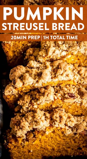This is the BEST pumpkin bread you'll ever make! Soft, moist and delicious, it's loaded with warm fall spices and a thick pecan crumb topping.  A Classic Pumpkin Bread recipe (made even better with the streusel!) to make two loaves to enjoy all autumn long - recipe uses one full can of pumpkin to avoid leftovers! #pumpkin #quickbread #pumpkinbread #fall #recipe #easy #easyrecipe #brunch #breakfast #easybrunchrecipe #easybakingrecipe #easybaking #baking #breadrecipe #autumn #fallfood #fallrecipe